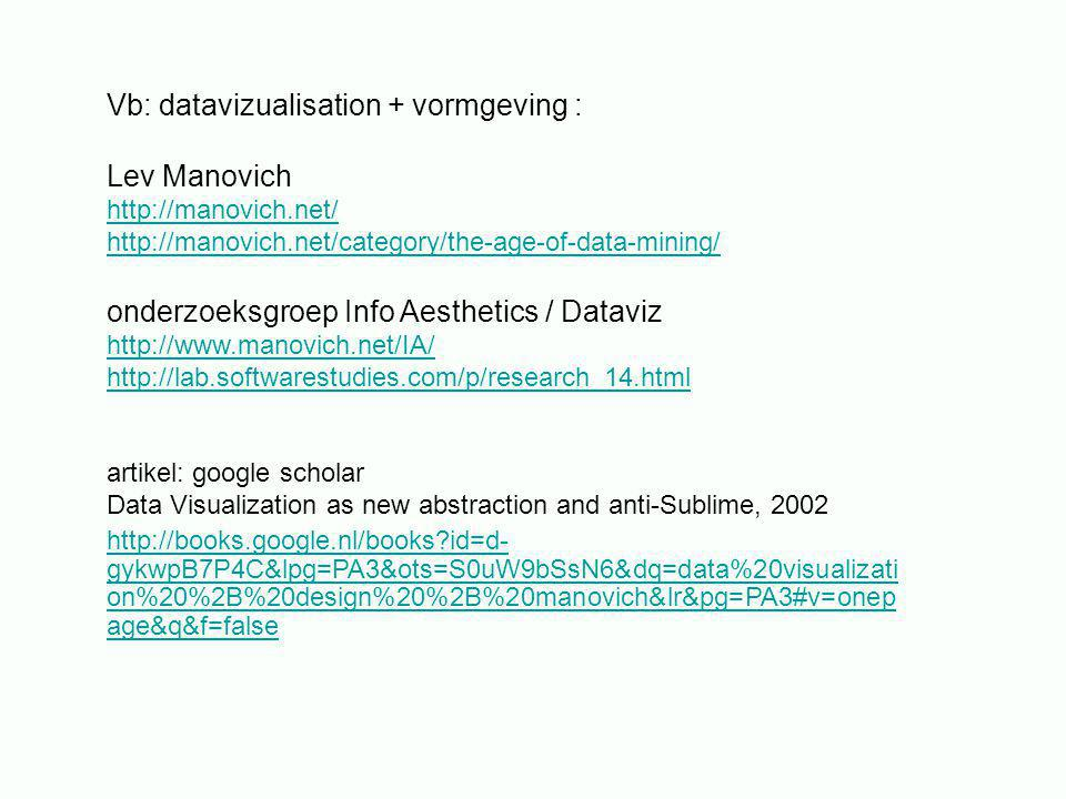 Vb: datavizualisation + vormgeving : Lev Manovich http://manovich.net/ http://manovich.net/category/the-age-of-data-mining/ onderzoeksgroep Info Aesthetics / Dataviz http://www.manovich.net/IA/ http://lab.softwarestudies.com/p/research_14.html artikel: google scholar Data Visualization as new abstraction and anti-Sublime, 2002 http://books.google.nl/books?id=d- gykwpB7P4C&lpg=PA3&ots=S0uW9bSsN6&dq=data%20visualizati on%20%2B%20design%20%2B%20manovich&lr&pg=PA3#v=onep age&q&f=false