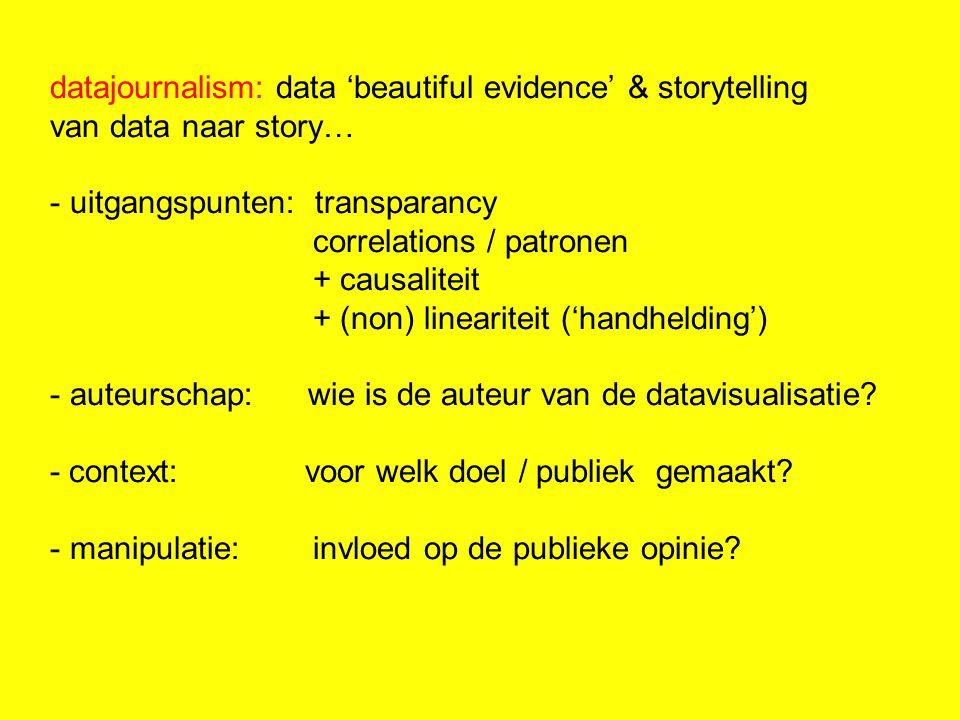datajournalism: data 'beautiful evidence' & storytelling van data naar story… - uitgangspunten: transparancy correlations / patronen + causaliteit + (non) lineariteit ('handhelding') - auteurschap: wie is de auteur van de datavisualisatie.
