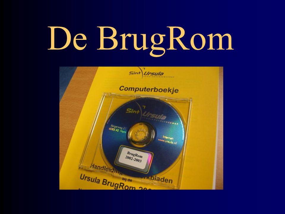 Ursula BrugRom 2003 De BrugRom wordt aan alle leerlingen uitgereikt via de boekenuitleen Daarbij hoort het papieren computerboekje: verwijzingen en handleidingen De BrugRom wordt thuis geïnstalleerd De BrugRom is ook in het schoolnetwerk geïnstalleerd
