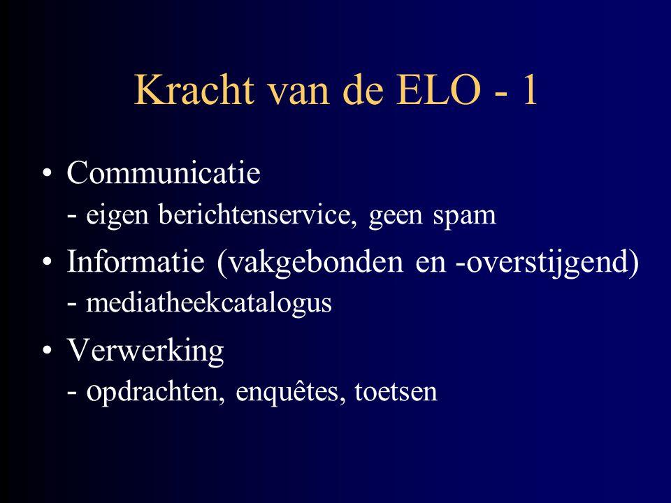 Kracht van de ELO - 1 Communicatie - eigen berichtenservice, geen spam Informatie (vakgebonden en -overstijgend) - mediatheekcatalogus Verwerking - o pdrachten, enquêtes, toetsen