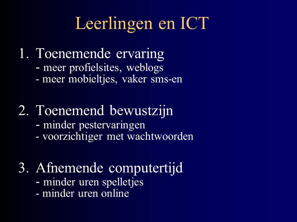 Leerlingen en ICT 1.Toenemende ervaring - meer profielsites, weblogs - meer mobieltjes, vaker sms-en 2.Toenemend bewustzijn - minder pestervaringen - voorzichtiger met wachtwoorden 3.Afnemende computertijd - minder uren spelletjes - minder uren online