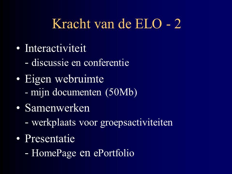 Kracht van de ELO - 2 Interactiviteit - discussie en conferentie Eigen webruimte - mijn documenten (50Mb) Samenwerken - werkplaats voor groepsactiviteiten Presentatie - HomePage en ePortfolio