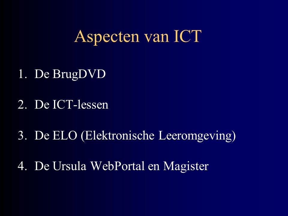 Aspecten van ICT 1.De BrugDVD 2.De ICT-lessen 3.De ELO (Elektronische Leeromgeving) 4.De Ursula WebPortal en Magister