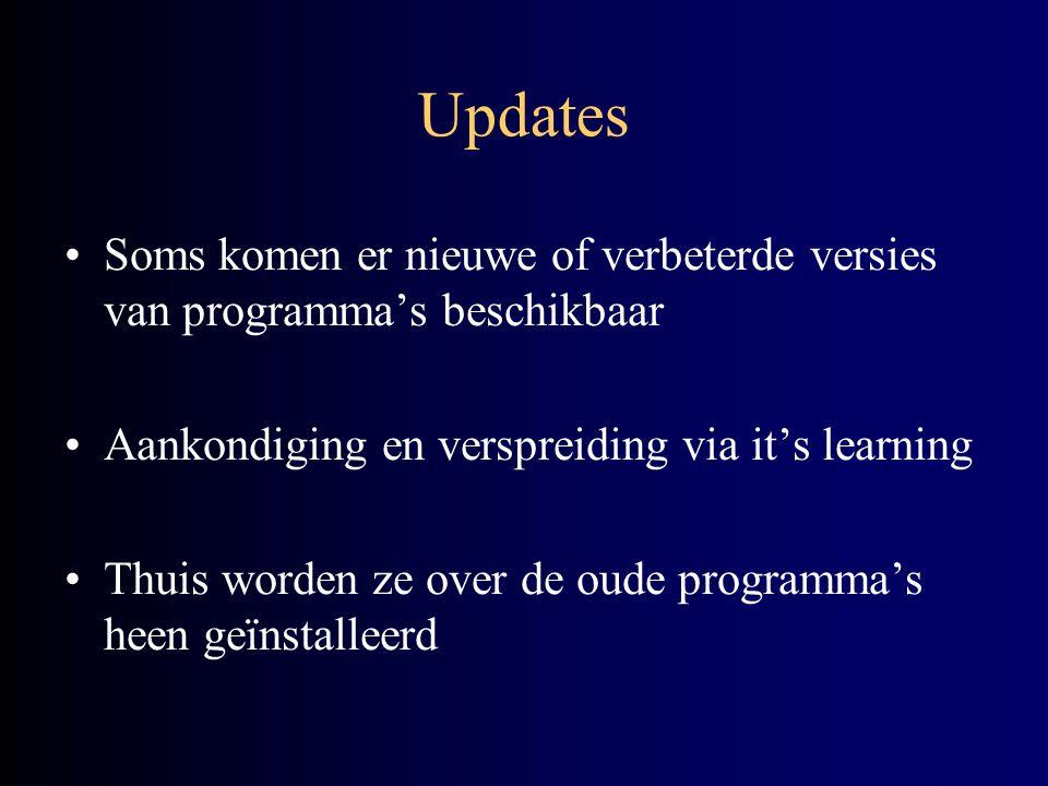 Updates Soms komen er nieuwe of verbeterde versies van programma's beschikbaar Aankondiging en verspreiding via it's learning Thuis worden ze over de oude programma's heen geïnstalleerd