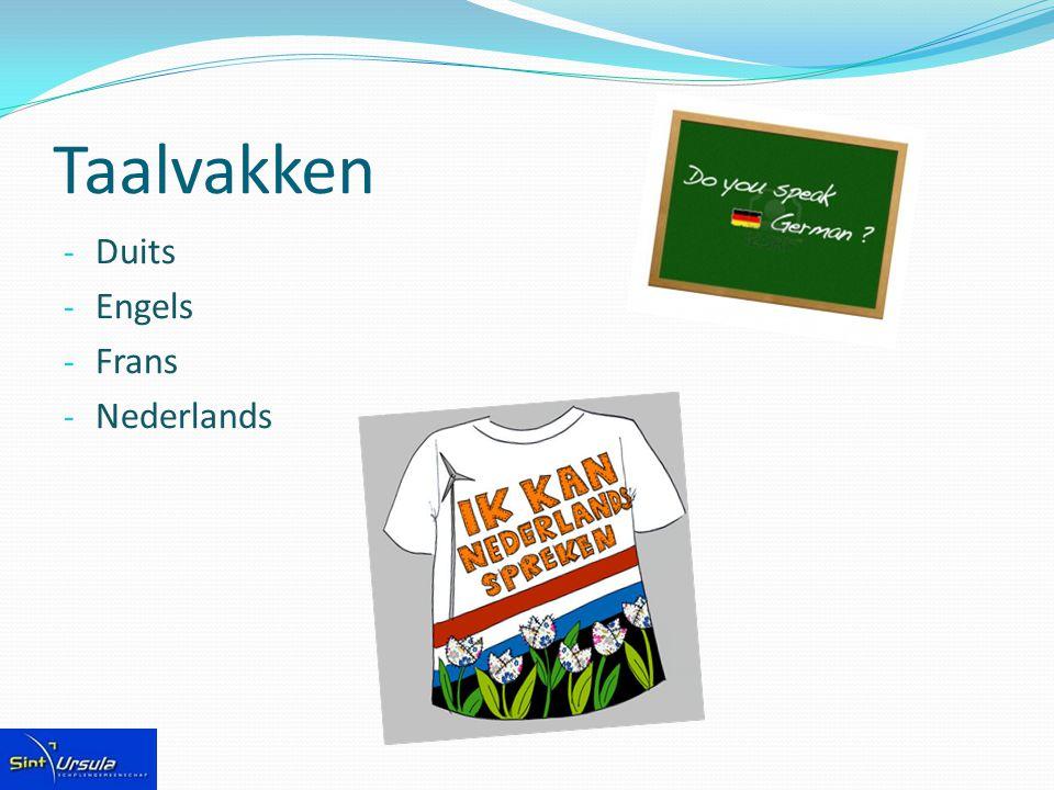 Taalvakken - Duits - Engels - Frans - Nederlands