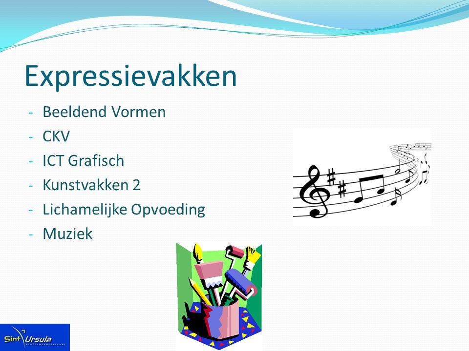 Expressievakken - Beeldend Vormen - CKV - ICT Grafisch - Kunstvakken 2 - Lichamelijke Opvoeding - Muziek
