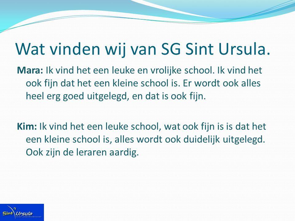 Wat vinden wij van SG Sint Ursula.Mara: Ik vind het een leuke en vrolijke school.