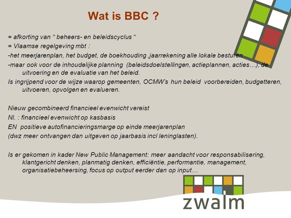 """Wat is BBC ? = afkorting van """" beheers- en beleidscyclus """" = Vlaamse regelgeving mbt : meerjarenplan -het meerjarenplan, het budget, de boekhouding,ja"""