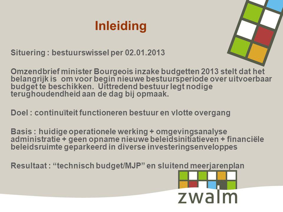 Inleiding Situering : bestuurswissel per 02.01.2013 Omzendbrief minister Bourgeois inzake budgetten 2013 stelt dat het belangrijk is om voor begin nie