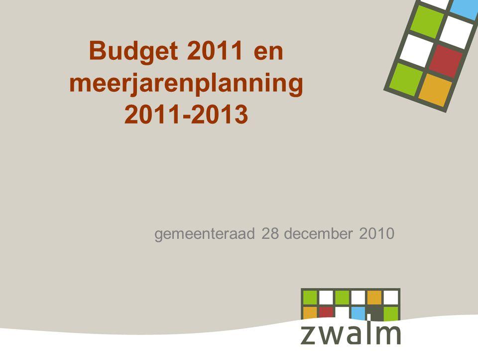 Budget 2011 en meerjarenplanning 2011-2013 gemeenteraad 28 december 2010