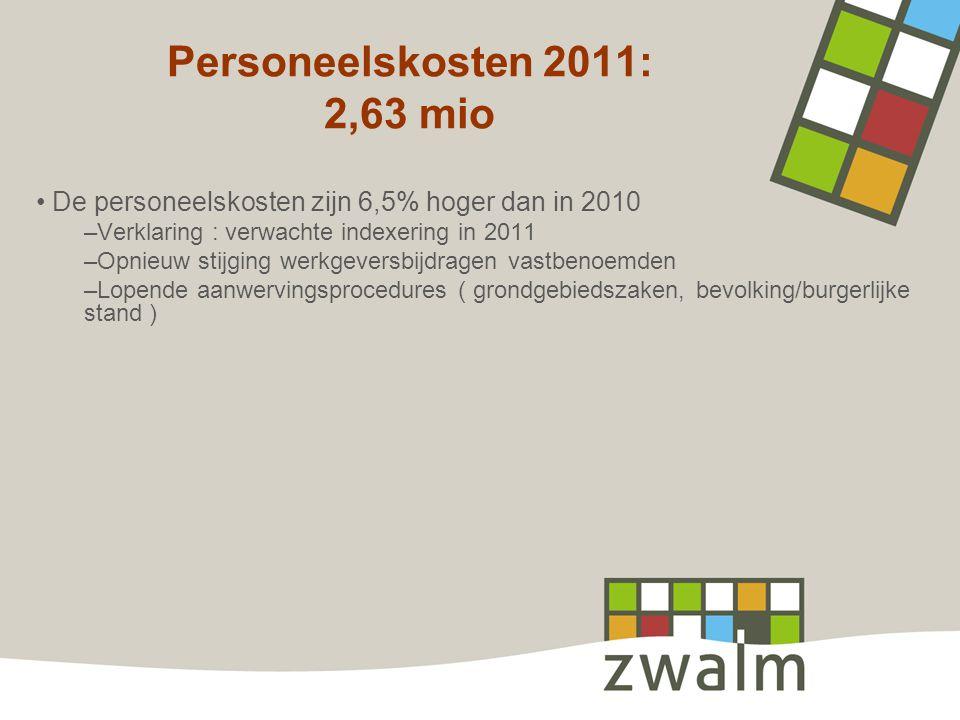 Personeelskosten 2011: 2,63 mio De personeelskosten zijn 6,5% hoger dan in 2010 –Verklaring : verwachte indexering in 2011 –Opnieuw stijging werkgeversbijdragen vastbenoemden –Lopende aanwervingsprocedures ( grondgebiedszaken, bevolking/burgerlijke stand )