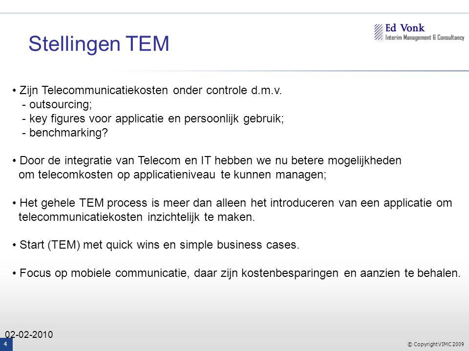 © Copyright VIMC 2009 4 02-02-2010 Zijn Telecommunicatiekosten onder controle d.m.v.
