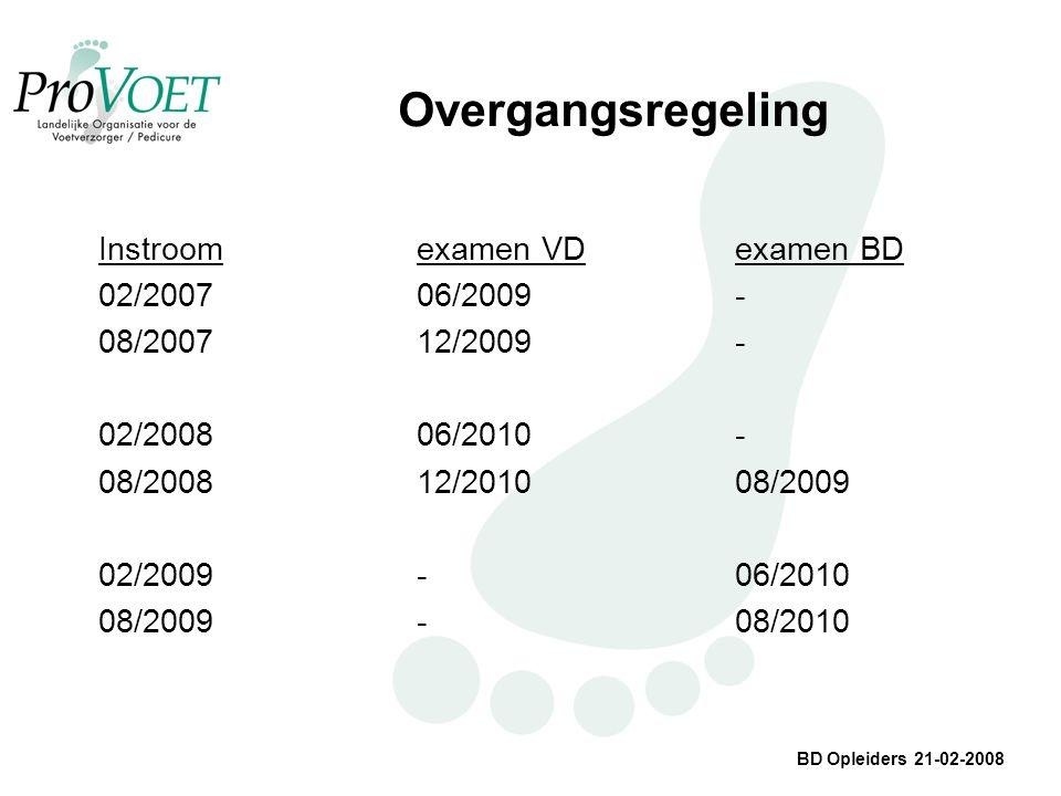 BD Opleiders 21-02-2008 Overgangsregeling Instroomexamen VDexamen BD 02/200706/2009- 08/200712/2009- 02/200806/2010- 08/200812/201008/2009 02/2009-06/2010 08/2009-08/2010