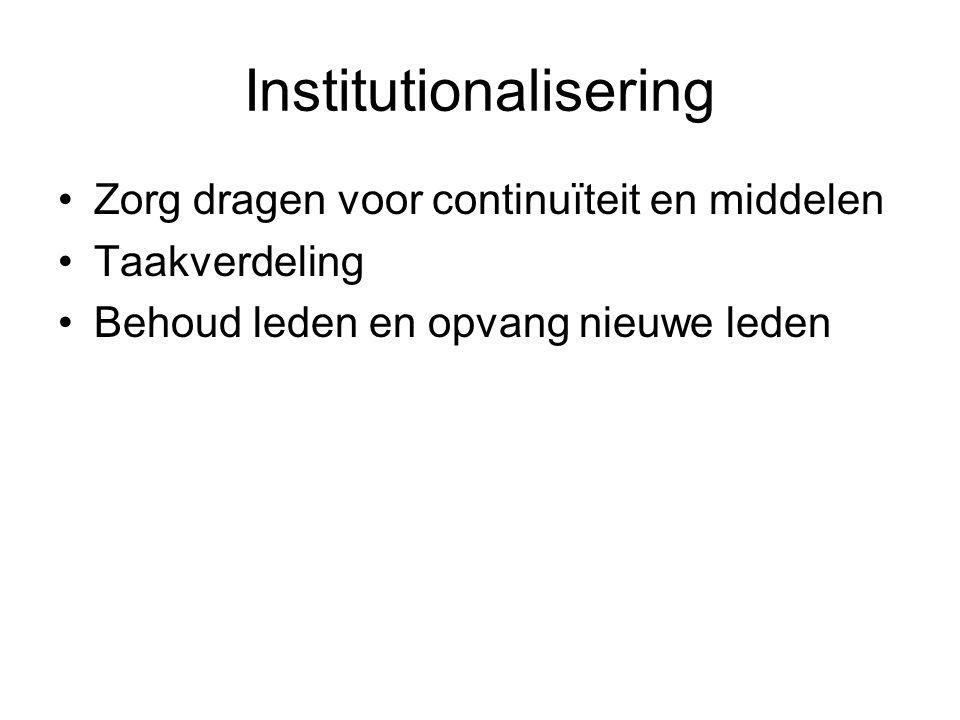 Institutionalisering Zorg dragen voor continuïteit en middelen Taakverdeling Behoud leden en opvang nieuwe leden