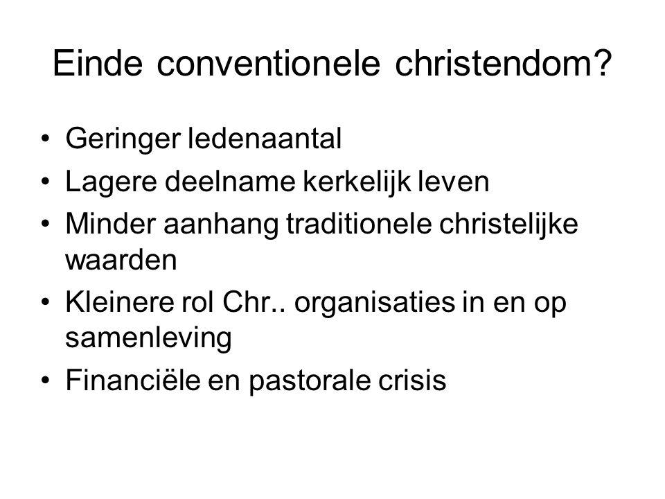 Einde conventionele christendom.
