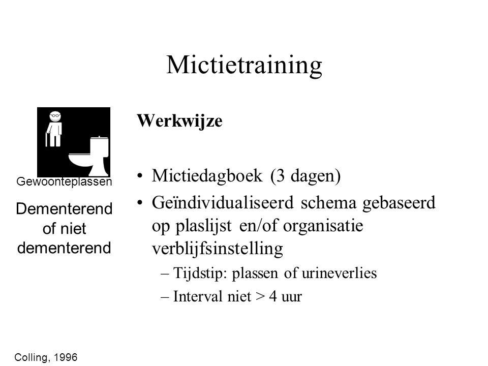 Werkwijze Mictiedagboek (3 dagen) Geïndividualiseerd schema gebaseerd op plaslijst en/of organisatie verblijfsinstelling –Tijdstip: plassen of urineve