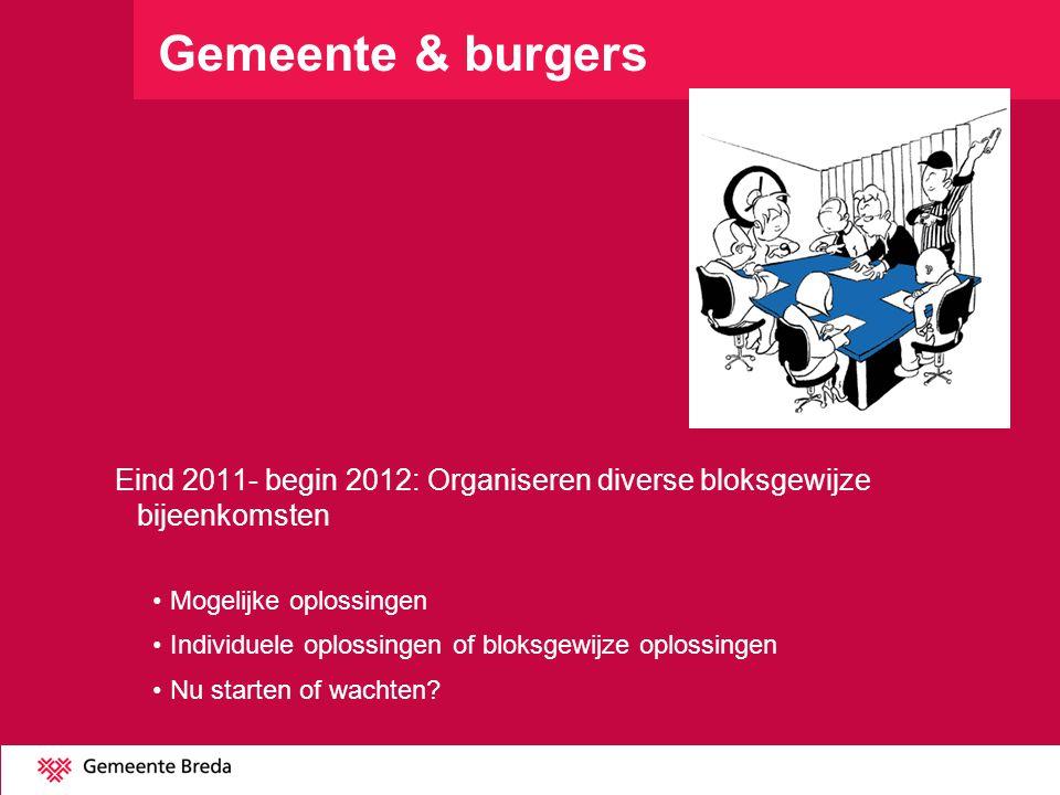 Gemeente & burgers Eind 2011- begin 2012: Organiseren diverse bloksgewijze bijeenkomsten Mogelijke oplossingen Individuele oplossingen of bloksgewijze oplossingen Nu starten of wachten?