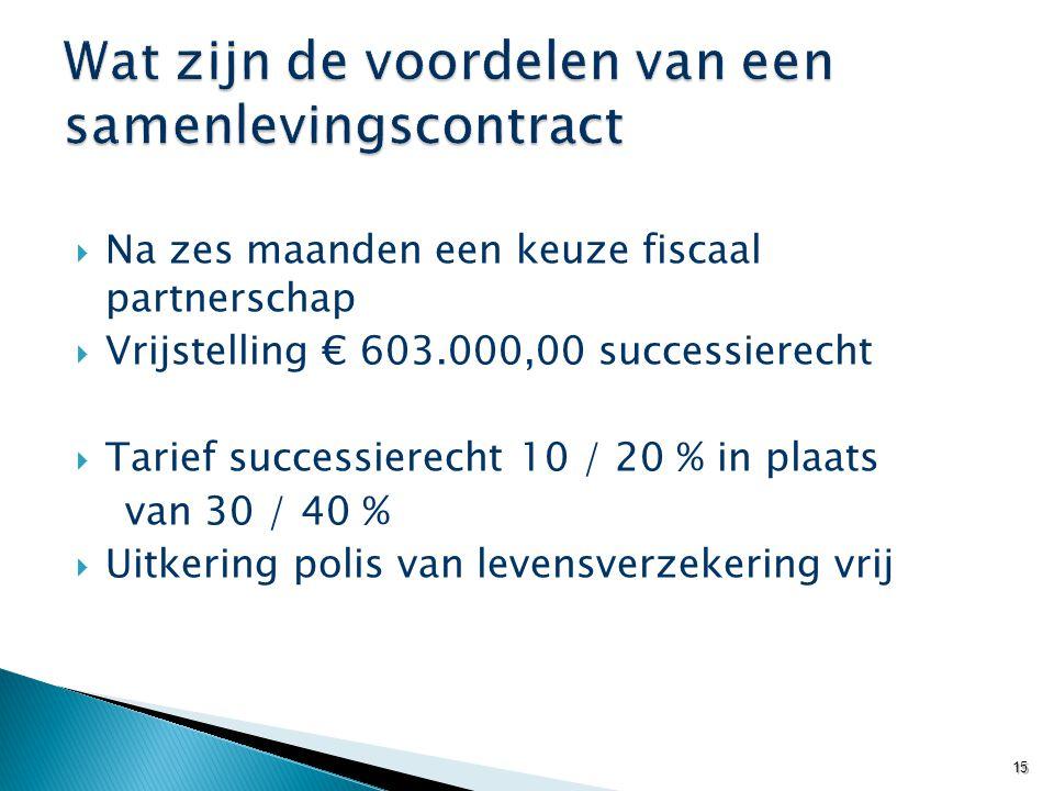 Na zes maanden een keuze fiscaal partnerschap  Vrijstelling € 603.000,00 successierecht  Tarief successierecht 10 / 20 % in plaats van 30 / 40 % 