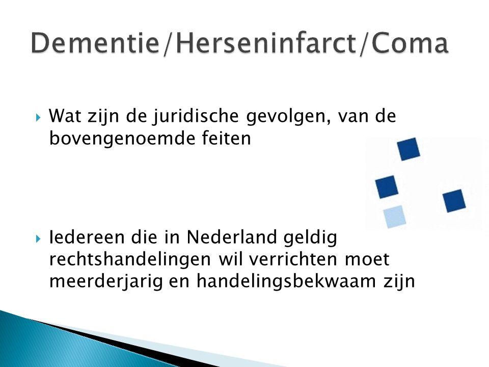  Wat zijn de juridische gevolgen, van de bovengenoemde feiten  Iedereen die in Nederland geldig rechtshandelingen wil verrichten moet meerderjarig e