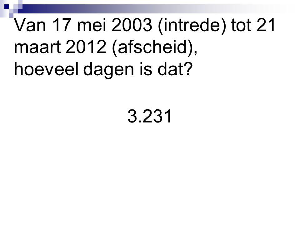 Van 17 mei 2003 (intrede) tot 21 maart 2012 (afscheid), hoeveel dagen is dat? 3.231