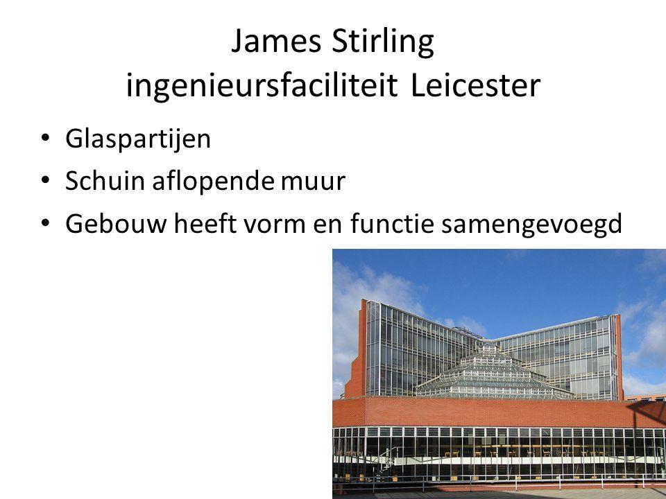 James Stirling ingenieursfaciliteit Leicester Glaspartijen Schuin aflopende muur Gebouw heeft vorm en functie samengevoegd