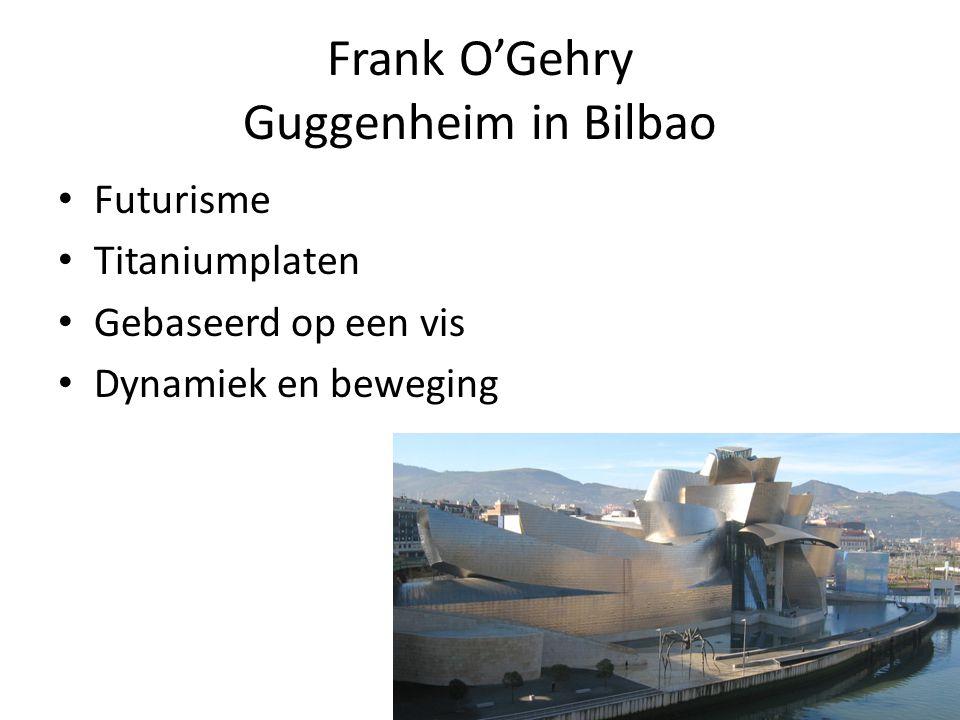Frank O'Gehry Guggenheim in Bilbao Futurisme Titaniumplaten Gebaseerd op een vis Dynamiek en beweging