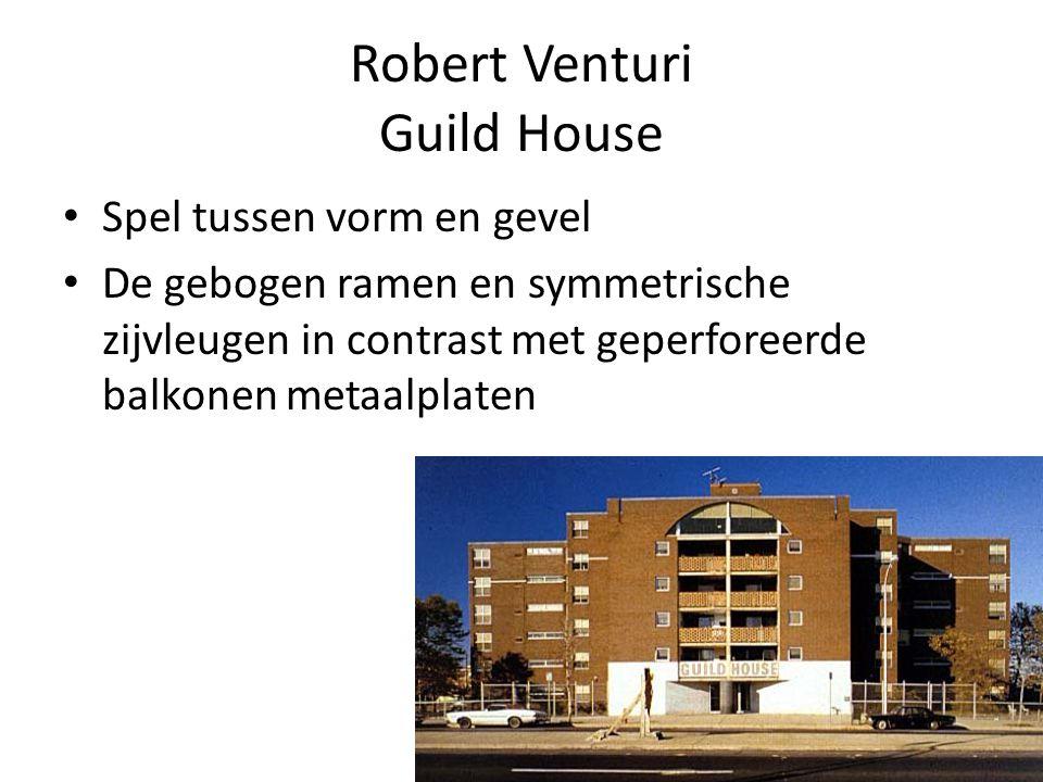 Robert Venturi Guild House Spel tussen vorm en gevel De gebogen ramen en symmetrische zijvleugen in contrast met geperforeerde balkonen metaalplaten