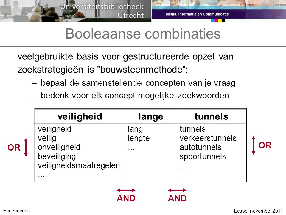 Booleaanse combinaties veelgebruikte basis voor gestructureerde opzet van zoekstrategieën is