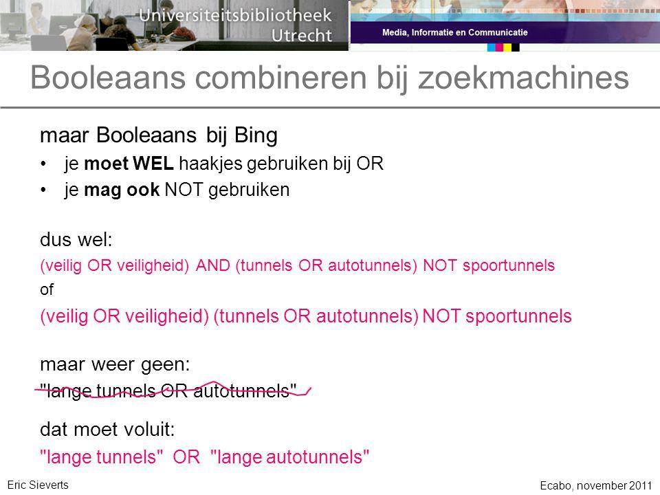 Booleaans combineren bij zoekmachines maar Booleaans bij Bing je moet WEL haakjes gebruiken bij OR je mag ook NOT gebruiken dus wel: (veilig OR veilig