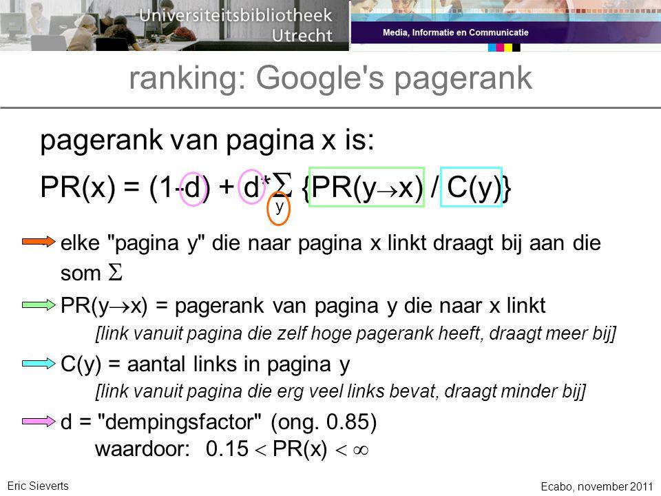ranking: Google's pagerank Ecabo, november 2011 Eric Sieverts pagerank van pagina x is: PR(x) = (1-d) + d*  {PR(y  x) / C(y)} y elke