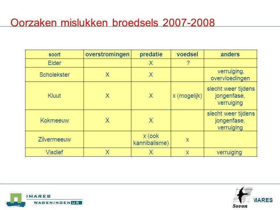 IMARES Oorzaken mislukken broedsels 2007-2008 soort overstromingenpredatievoedselanders Eider X ? ScholeksterXX verruiging, overvloedingen KluutXXx (m