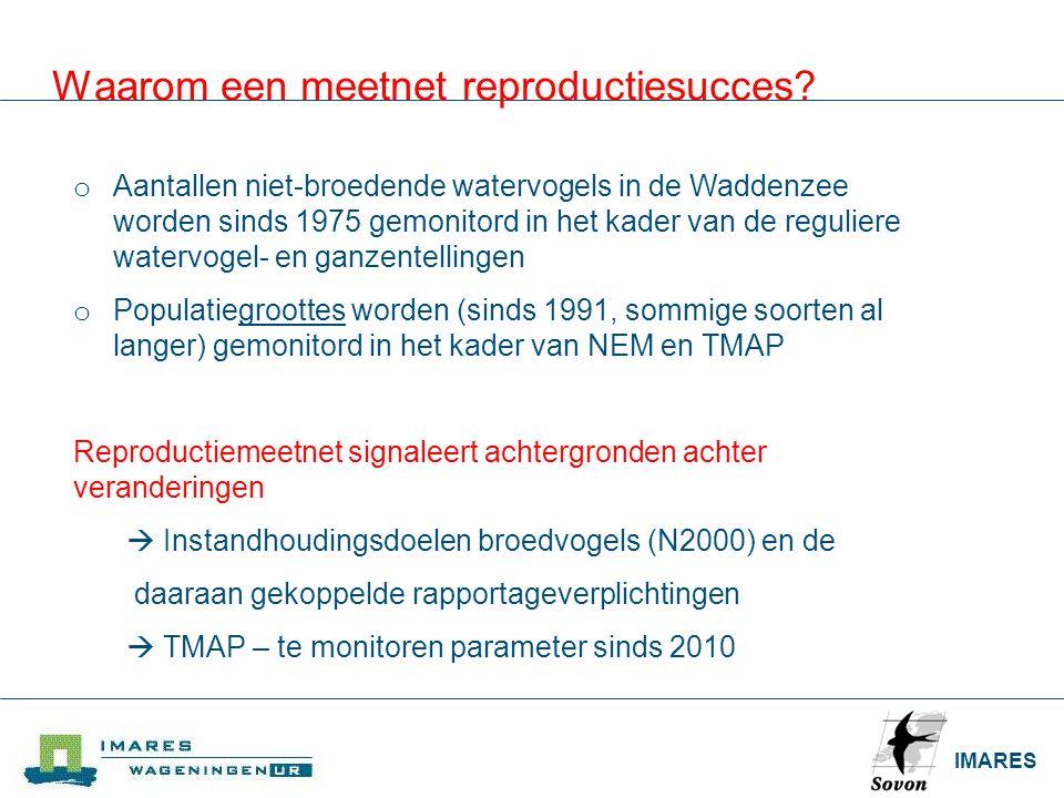IMARES Toekomstige ontwikkeling Soortnaam Natura 2000- gebieden Wadden Trend 1999- 2008 Dempelwaarde uitvliegsucces Mediaan uitvliegsucces 2005-2008 Aantal steekproefgebieden boven drempel 2007 Aantal steekproefgebieden boven drempel 2008 Prognose trend Eider Waddenzee, Duinen Schiermonnikoog, Duinen Vlieland, Duinen en Lage Land Texel, Duinen Ameland -0.4 - 10.1 – 0.51 (7)3 (6)- Scholekster--0.40 – 0.20 (6)2 (11)- Kluut Waddenzee, Duinen en Lage Land Texel --0.5 - 10 – 0.10 (3)0 (6)-- Kokmeeuw--10 – 0.51 (8)1 (4)0 / - Kleine Mantelmeeuw Waddenzee, Duinen en Lage Land Texel, Duinen Vlieland ++0.6 - 1 0 (1)0 (2)- Zilvermeeuw-00.6 - 10.2 – 0.70 (4)0 (6)0 VisdiefWaddenzee-0.750 – 0.21 (6)0 (5)-- Noordse SternWaddenzee-0.4 - 10 – 0.20 (6)1 (6)--