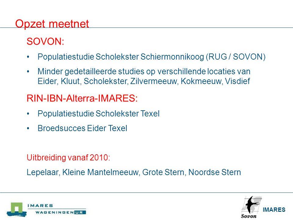 IMARES Opzet meetnet SOVON: Populatiestudie Scholekster Schiermonnikoog (RUG / SOVON) Minder gedetailleerde studies op verschillende locaties van Eide
