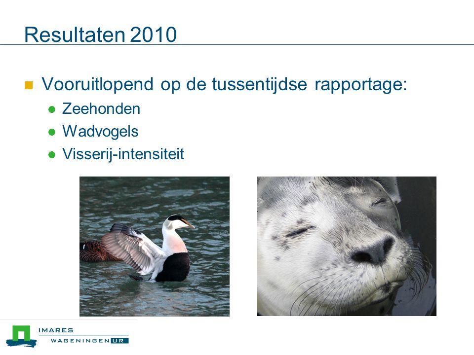 Resultaten 2010 Vooruitlopend op de tussentijdse rapportage: Zeehonden Wadvogels Visserij-intensiteit