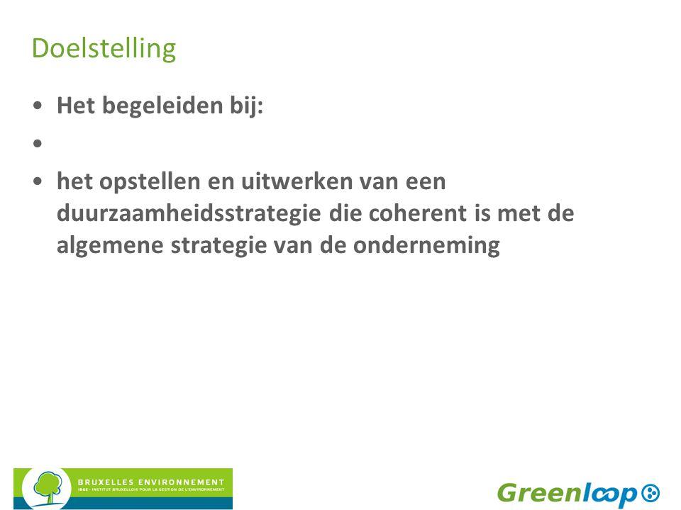 Doelstelling Het begeleiden bij: het opstellen en uitwerken van een duurzaamheidsstrategie die coherent is met de algemene strategie van de onderneming