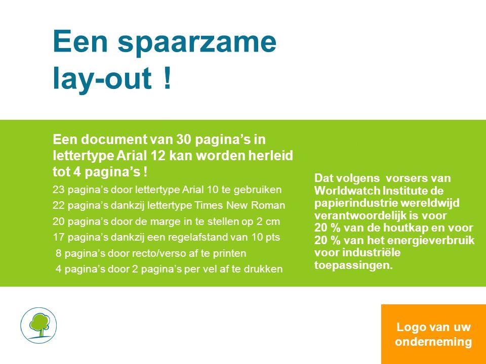 Een spaarzame lay-out ! Een document van 30 pagina's in lettertype Arial 12 kan worden herleid tot 4 pagina's ! 23 pagina's door lettertype Arial 10 t