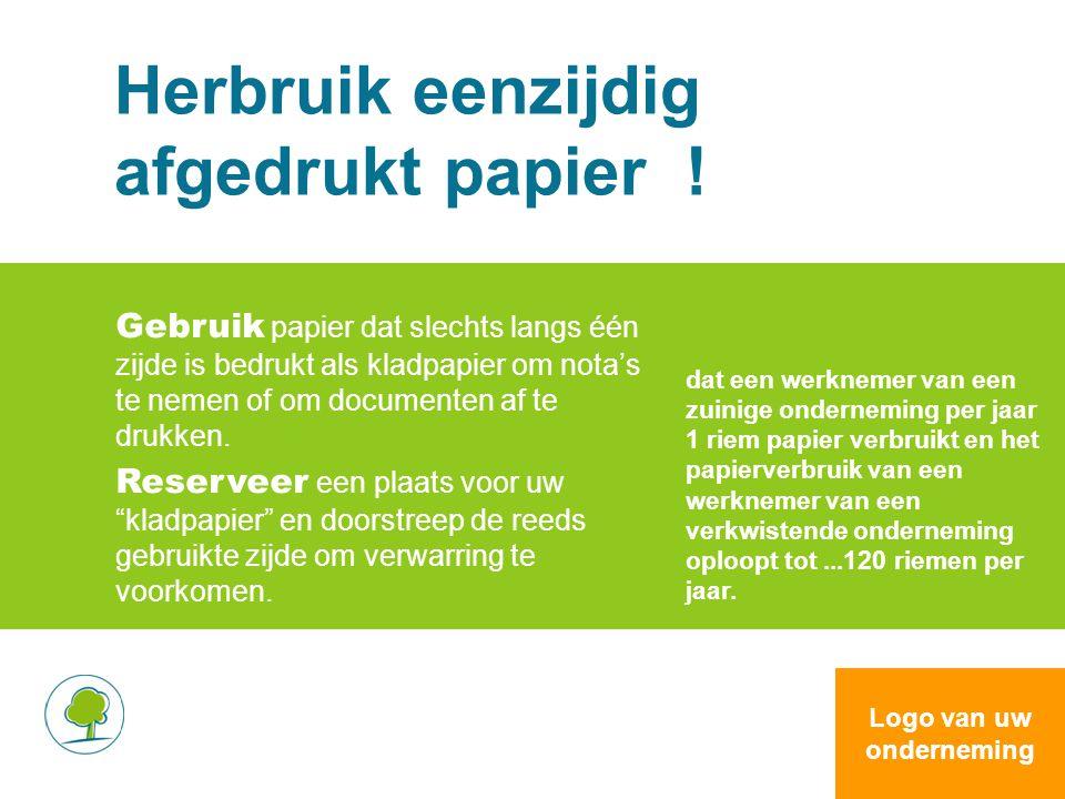 Herbruik eenzijdig afgedrukt papier ! Gebruik papier dat slechts langs één zijde is bedrukt als kladpapier om nota's te nemen of om documenten af te d