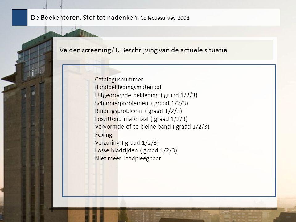 Velden screening/ I. Beschrijving van de actuele situatie De Boekentoren. Stof tot nadenken. Collectiesurvey 2008 Catalogusnummer Bandbekledingsmateri