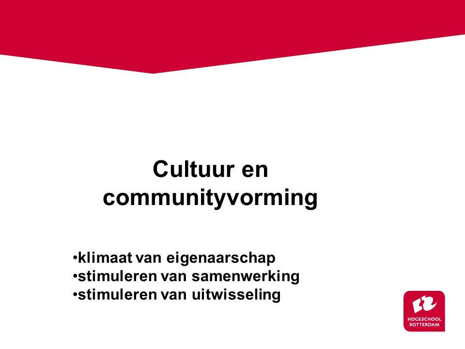 Cultuur en communityvorming klimaat van eigenaarschap stimuleren van samenwerking stimuleren van uitwisseling