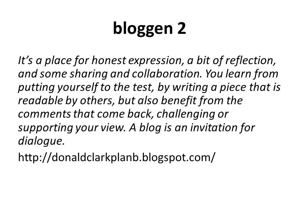 Individuele blogs studenten Persoonlijk publicatiemedium (eigenaarschap) Werken aan en publiceren eigen producten Reflecties op het leren (proces- en product) Opzetten kennisbank Netwerkleren binnen MLI en de buitenwereld Kennis delen en co-creatie