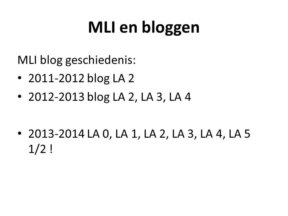 MLI en bloggen MLI blog geschiedenis: 2011-2012 blog LA 2 2012-2013 blog LA 2, LA 3, LA 4 2013-2014 LA 0, LA 1, LA 2, LA 3, LA 4, LA 5 1/2 !