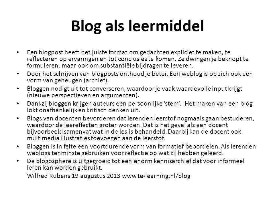 Blog als leermiddel Een blogpost heeft het juiste format om gedachten expliciet te maken, te reflecteren op ervaringen en tot conclusies te komen.