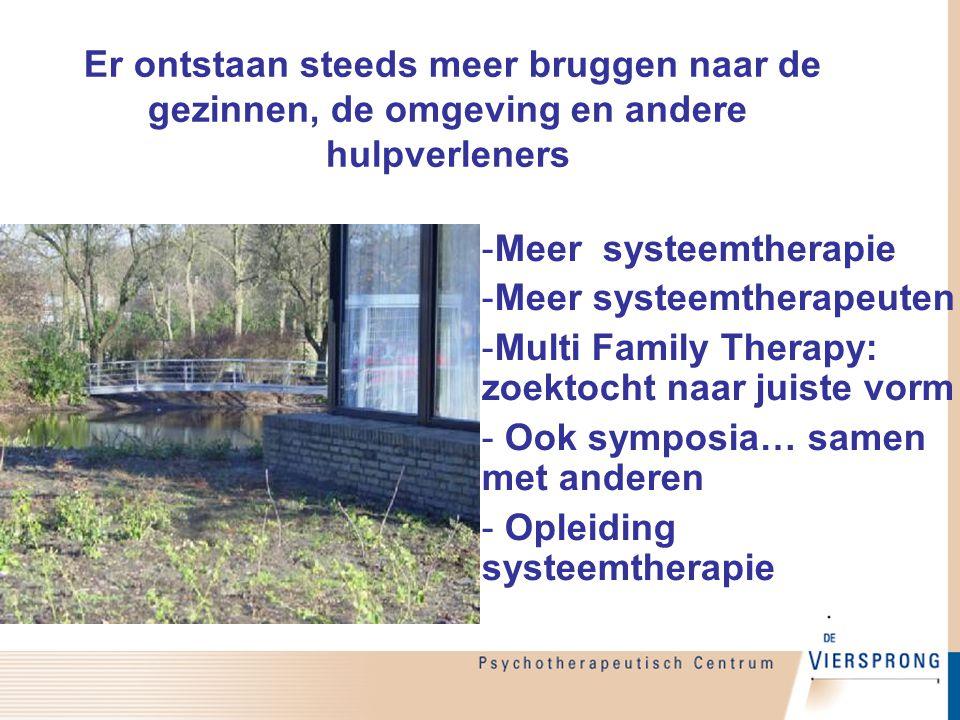 Er ontstaan steeds meer bruggen naar de gezinnen, de omgeving en andere hulpverleners -Meer systeemtherapie -Meer systeemtherapeuten -Multi Family The