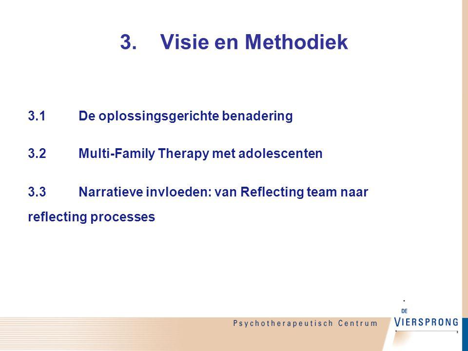 3.1De oplossingsgerichte benadering 3.2Multi-Family Therapy met adolescenten 3.3Narratieve invloeden: van Reflecting team naar reflecting processes 3.