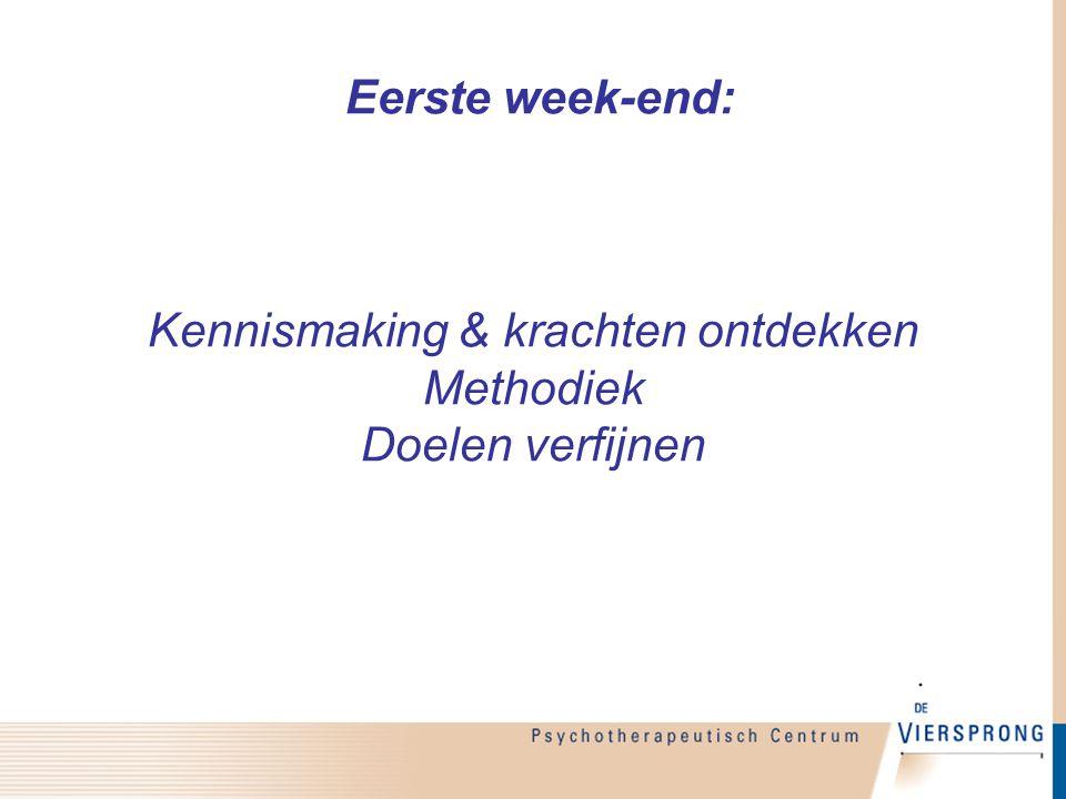 Eerste week-end: Kennismaking & krachten ontdekken Methodiek Doelen verfijnen