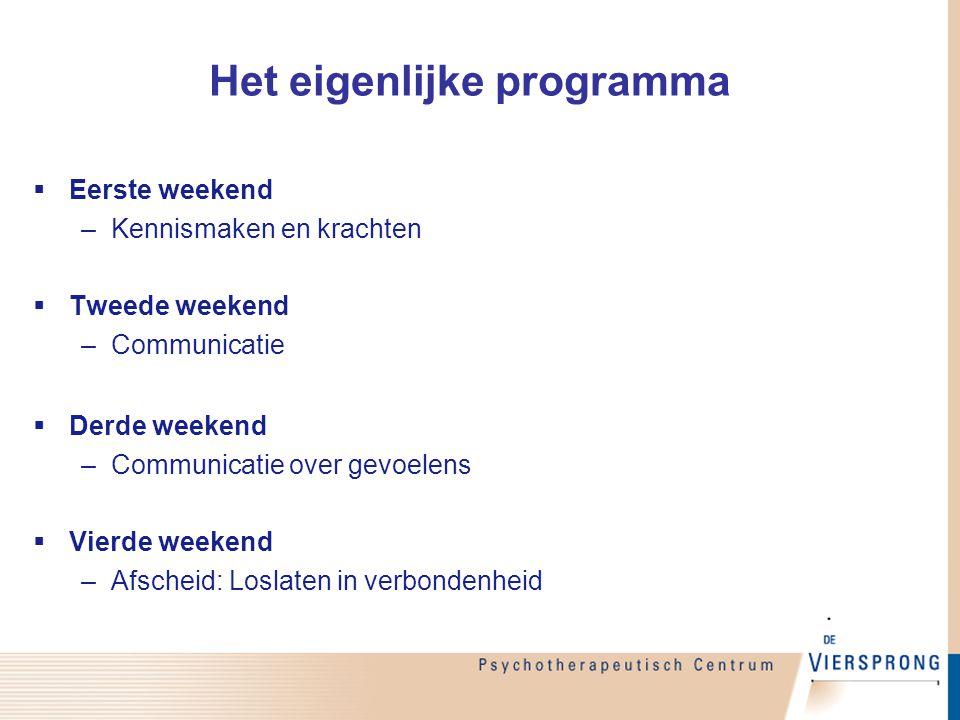  Eerste weekend –Kennismaken en krachten  Tweede weekend –Communicatie  Derde weekend –Communicatie over gevoelens  Vierde weekend –Afscheid: Losl