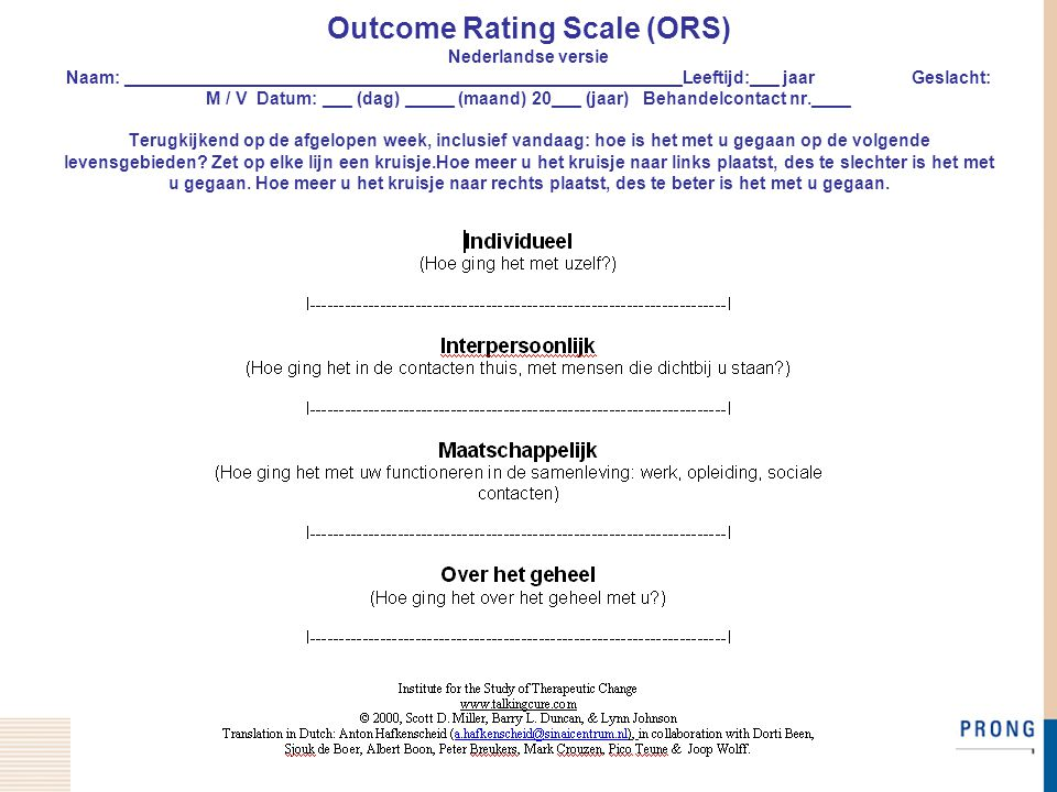 Outcome Rating Scale (ORS) Nederlandse versie Naam: _________________________________________________________Leeftijd:___ jaar Geslacht: M / V Datum: