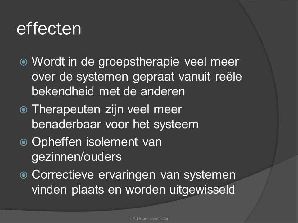 effecten  Wordt in de groepstherapie veel meer over de systemen gepraat vanuit reële bekendheid met de anderen  Therapeuten zijn veel meer benaderba