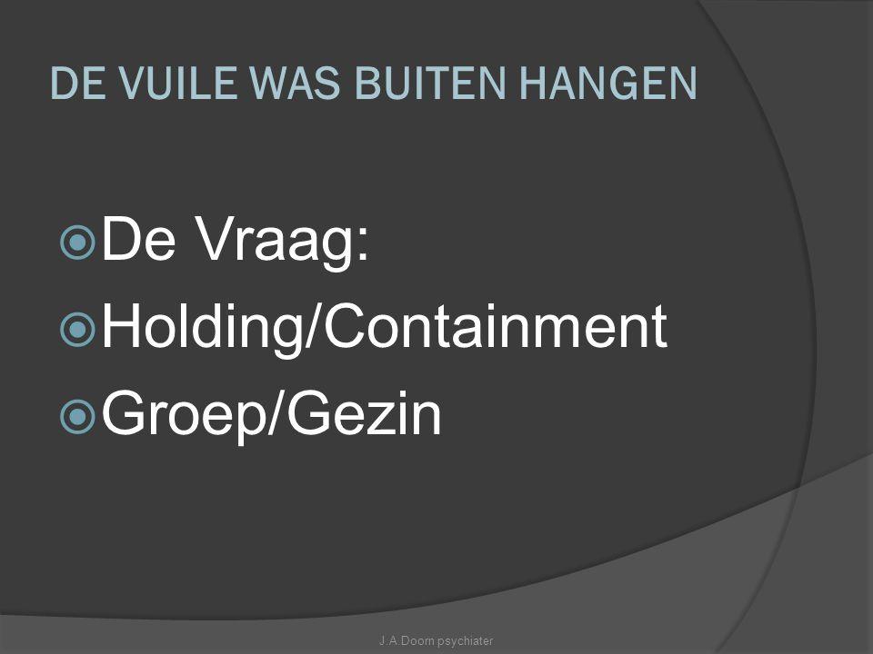 DE VUILE WAS BUITEN HANGEN  De Vraag:  Holding/Containment  Groep/Gezin J.A.Doorn psychiater