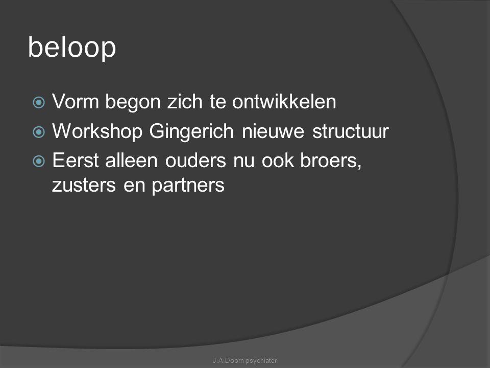 beloop  Vorm begon zich te ontwikkelen  Workshop Gingerich nieuwe structuur  Eerst alleen ouders nu ook broers, zusters en partners J.A.Doorn psych